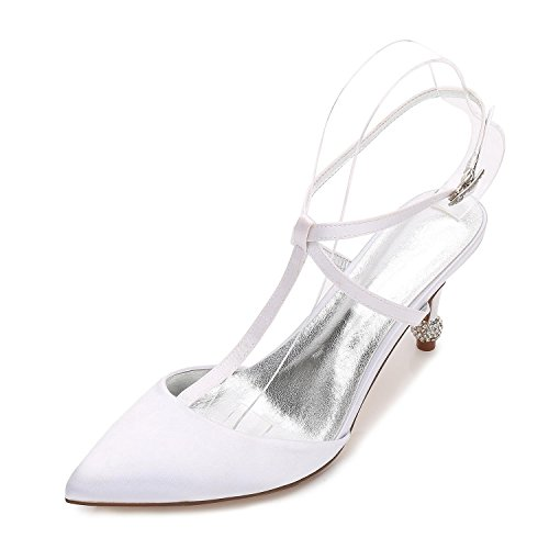 Mujeres 31 amp; White D17767 La L De Satin Zapatos Marfil Wedges Boda Close yc Prom Nupciales txYnxAfZ5