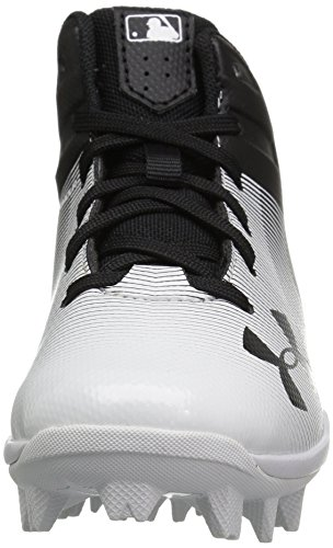 Under Armour Boys' Leadoff Mid Jr. RM Baseball Shoe, Black (011)/White, 1 by Under Armour (Image #4)