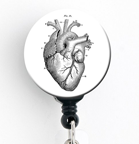 Vintage Heart - Retractable Badge Reel with Swivel Clip and Extra-Long 34 inch Cord - Badge Holder/Cardiology/Cardiologist/CCU SNL