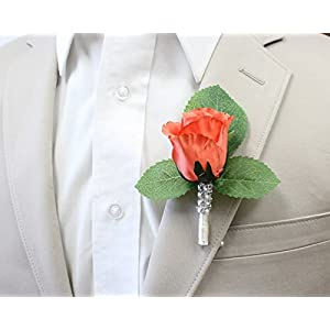 Angel Isabella Boutonniere-Nice Hand-Crafted Rosebud Keepsake Artificial Flower-Pearl Headed Pin Included 2