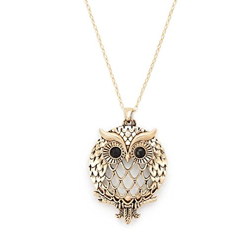 Elegant Owl Filigree Antiqued Gold Tone Glass 6x Power Magnifier Pendant Necklace Gift for Sight Impaired