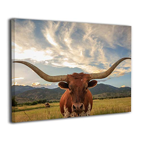 SRuhqu Canvas Wall Art Prints Animal Texas Longhorn -Picture Paintings Modern Decorative Giclee Artwork Wall Decor-Wood Frame Ready to Hang