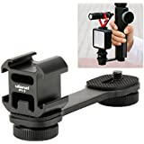 ZUCRQ PT-3 Triple Cold Shoe Mount Adapter Microphone Stand Bracket Holder Compatible for Zhiyun Smooth 4/Smooth Q/DJI Osmo Mobile 2 LED Video Light