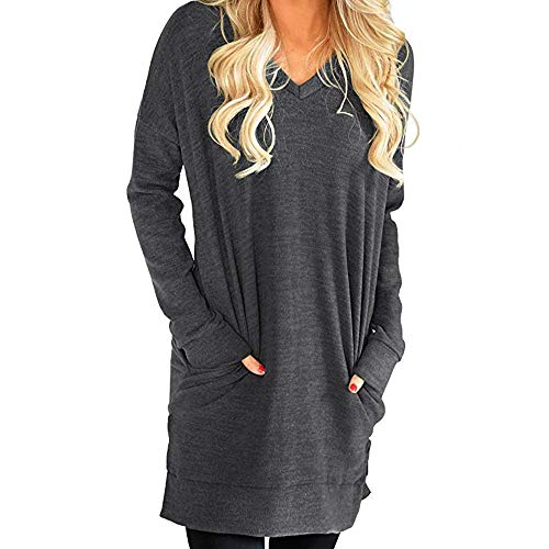 Londony ♥‿♥ Clearance Sales 2018,Women's Long Sleeve V Neck Tunic Tops Casual Loose Swing T-Shirt Dress