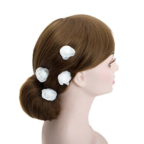 (Small White Rose Blossom Wedding Flower Hair Clips, Bridal Organza Flower Silver U Pins (A Set - 3 Pcs))