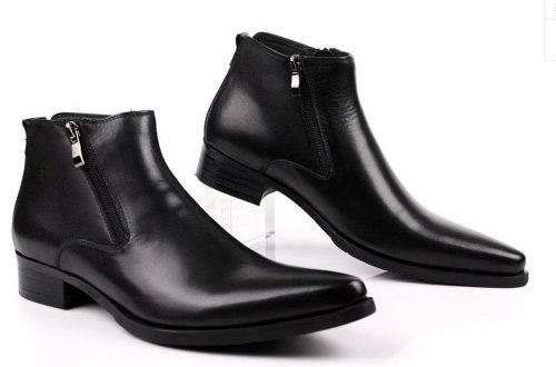 premium selection sports shoes affordable price Fulinken Genuine Leather Pointed Toe Chat Zip Men Formal ...