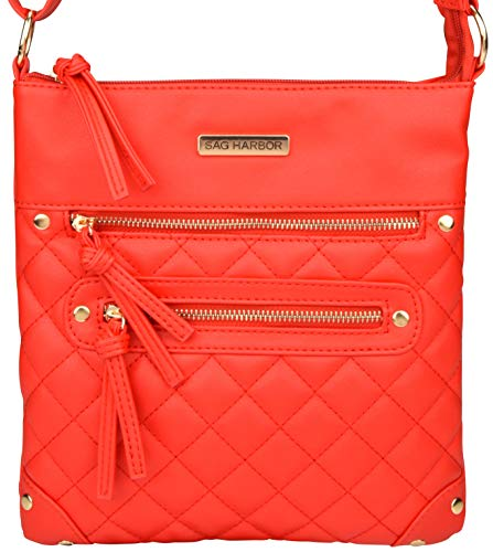 Hardware Cross with Gold Zipper Casual Harbor Red Faux Three Tone Bag Sag Leather Body wZA7qxYAf