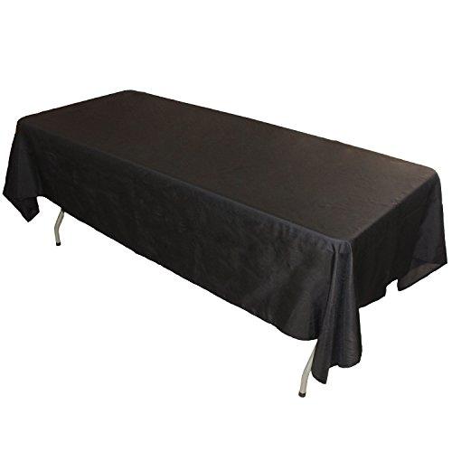 FantasyDeco Rectangular Polyester Fabric Tablecloth, Black,