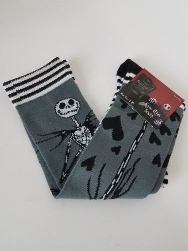 Disney Nightmare Before Christmas Jack Skelleton Socks, Grey, Shoe Size -