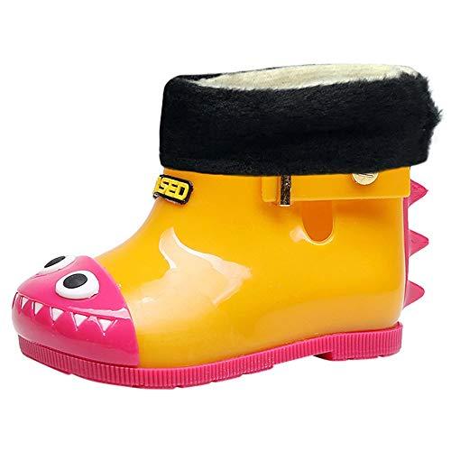 Shusuen Toddler Kids Rain Boots Rubber Cute Dinosaur Printed with Velvet -