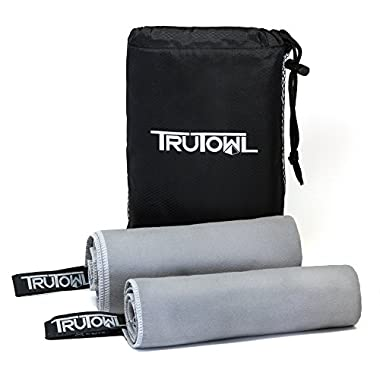 Microfiber Travel Towel w/FREE Sports Hand Towel - Compact, Lightweight, Quick Drying with Hang Loop and Mesh Bag. Pack Smart with TruTowl XL, for Yoga, Beach, Swimming and Gym!