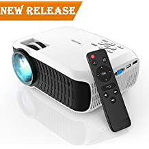 """Projector, DBPOWER 2018 Upgraded Z400 Lumens Mini Projector 176"""" Display 50,000 Hours LED Portable Video Projector 1080P, Compatiable with HDMI,AV, USB, SD, Amazon Fire TV Stick for Home Cinema,White"""