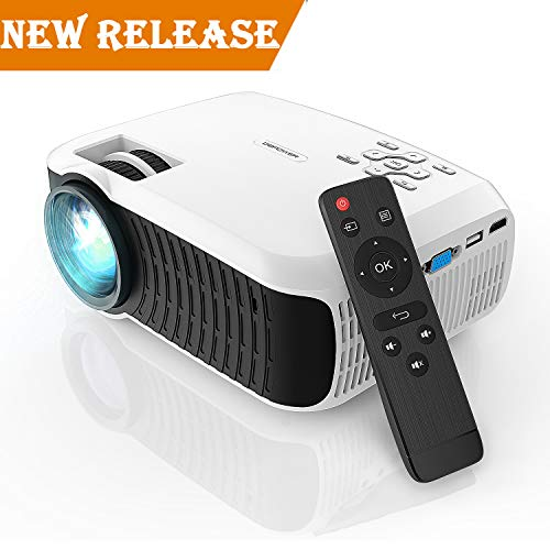 Projector, DBPOWER 2018 Upgraded Z400 Lumens Mini Projector 176'' Display 50,000 Hours LED Portable Video Projector 1080P, Compatiable with HDMI,AV, USB, SD, Amazon Fire TV Stick for Home Cinema,White by DBPOWER