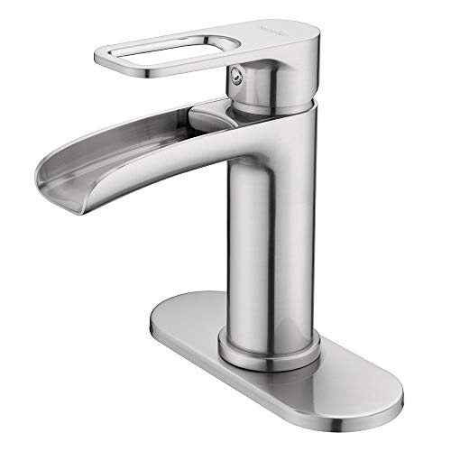 (NEWATER Waterfall Spout Bathroom Sink Faucet Basin Mixer Tap Single Handle Brushed Nickel)