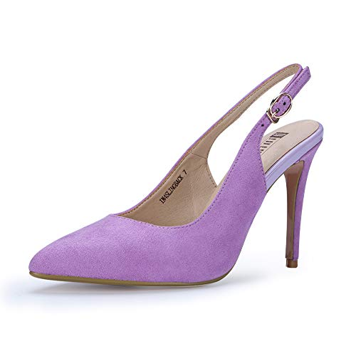 (IDIFU Women's IN4 Slingback Pointed Toe Ankle Strap Stiletto High Heel Dress Pump (Lavender Suede, 5.5 B(M) US))