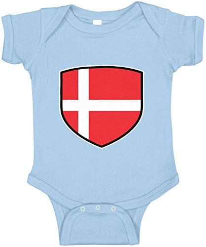 Amdesco Denmark Shield Danish Flag Infant Bodysuit, Light Blue 12 Month