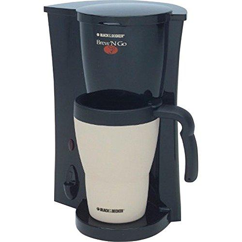 Embargo+DECKER Brew 'n Go Personal Coffeemaker with Travel Mug, Black/White, DCM18