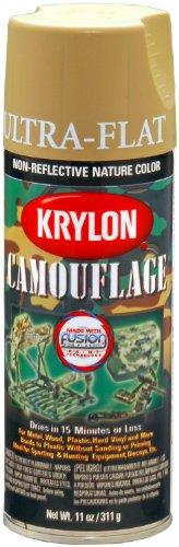 Krylon Camouflage Paint, Ultra Flat, Khaki, 11 oz. case of 6