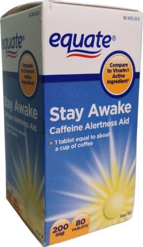 Equate Stay Awake Caffeine Alertness Aid, 80 Tablets, 200 mg