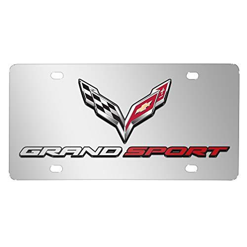 iPick Image - Chevrolet Corvette C7 Grand Sport (2014 to 2019) in 3D Logo Mirror Chrome Stainless Steel License Plate