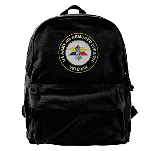 US Army 4th Armored Division Fashion Lightweight Canvas Shoulder Backpack For Women & Men