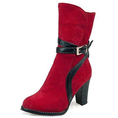 COOLCEPT Mujer Moda Tacon Ancho Alto Ankle Botas Zapatos With Cremallera Red