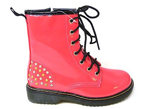 Ladies High Womens Combat Zip Size 8 12085 Ankle Vintage 3 Punk Patent Boots Lace UP SKO'S Fuisha 4fd48n