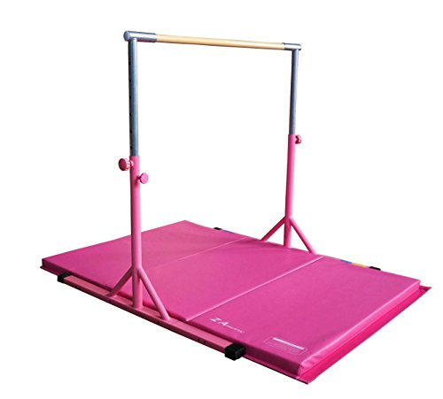 Z-Athletic Expandable Kip Bar Adjustable Height for Gymnastics, Training & 4ft x 6ft x 2in Mat (Pink)