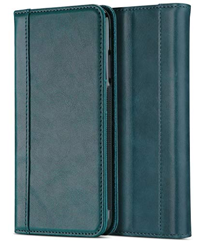 """Procase Genuine Leather Case for iPhone Xs Max, Vintage Wallet Folding Flip Case with Kickstand Card Holder Protective Cover for Apple iPhone Xs Max 6.5"""" (2018 Release) -Teal"""