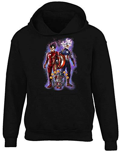 Son Goku and Vegeta Cosplay Iron Man and Captain America Suit Hoodie (Hoodie Black, L) ()