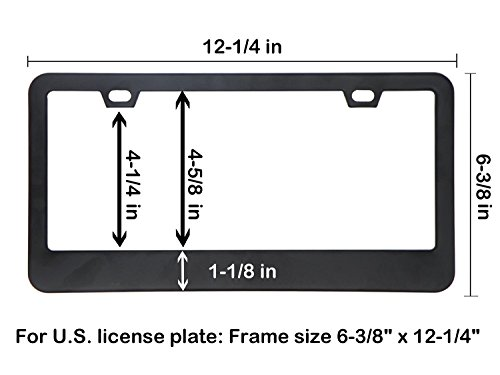 Car License Plate Frame Matte Stainless Steel License Plate Covers With Free Screws