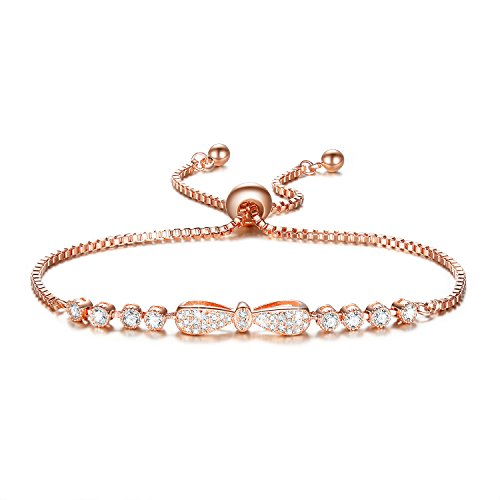 DIFINES Fashion Cute Bow Knot Charm 18k Rose Gold Plated CZ Diamond Adjustable Tennis Bracelets for Women Girls, ❤Graduation Gifts❤