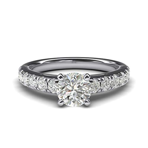 (Women's Sterling Silver 1CT Classic 4-Prong Simulated Round Cut Diamond Solitaire Engagement Ring Large Side Stones (10))