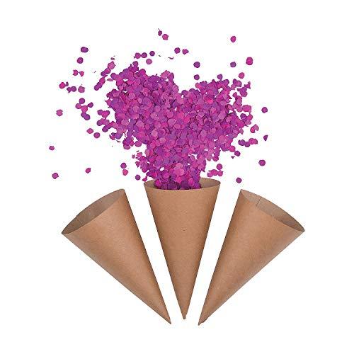 Kraft Paper Confetti Cones (50 cone set) Bulk Party Supplies