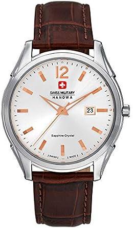Swiss Military Hanowa 06-4157.04.001.05 - Reloj de Cuarzo para Hombre (Esfera Blanca y Correa de Piel marrón)