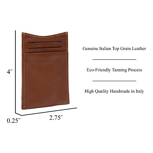 Clip with Credit Cow Card Slots Mens Spring Tony Wallet Money Cognac Tension Italian Perotti Leather q8wxvRT