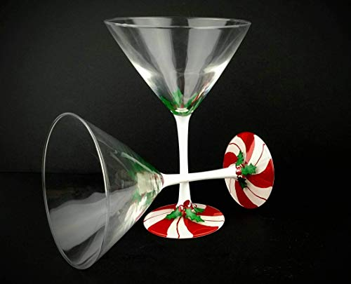 Christmas themed hand painted martini glasses, candy cane with holly - Set of two