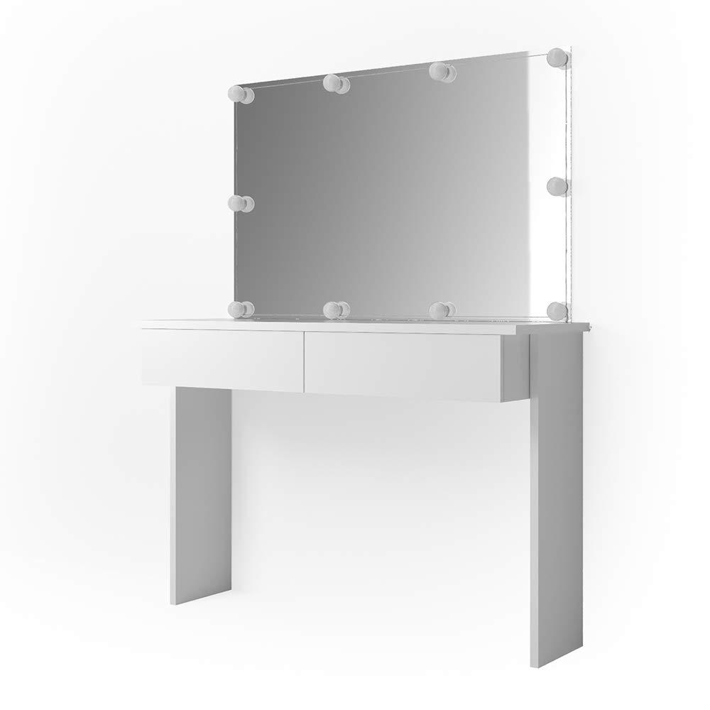 Vicco Schminktisch Azur mit LED-Beleuchtung und Spiegel Weiß Hochglanz Kosmetiktisch Frisierkommode Frisiertisch (Schminktisch + Spiegel)