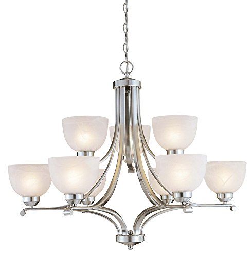 Minka Lavery Chandelier Pendant Lighting 1429-84, Paradox Glass 2 Tier Dining Room, 9 Light, 900 Watts, Nickel