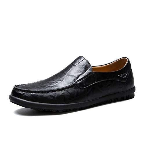 Noir 43 EU JUJIANFU-Chaussures Confortables Classique d'affaires Penny Mocassins pour Hommes en Cuir Véritable Léger Coiffure De Mariage Tous Les Jours Vegan Chaussures Anti-Slip Plat Slip-on Bout Rond
