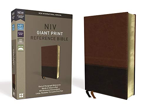 NIV, Reference Bible, Giant Print, Leathersoft, Brown, Red Letter Edition, Indexed, Comfort Print ()