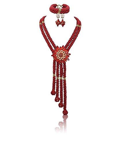 Allongé Rouge africain Corail Jewelry Collier Perles Balle de Y Compris Rouge brooche Boucles d'oreille et bracelet