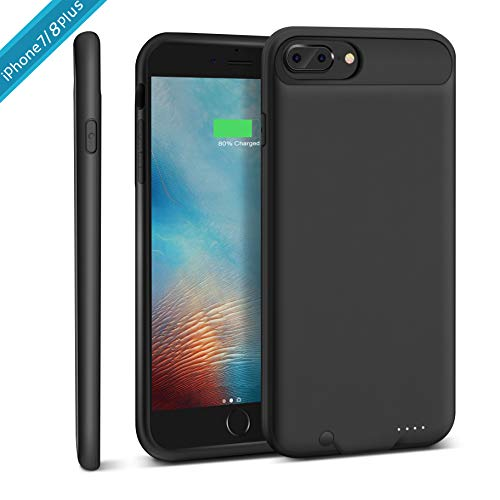 iPhone 7 Plus / 8 Plus Battery Case, XchuangX 4000mAh Rechargeable Protective Charging Case Slim for Apple iPhone 7/8 Plus (5.5 inch), Support All Types Headphones, Answer Call, Sync-Through-Black