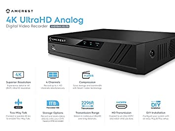 Amcrest 4K UltraHD 4 Channel DVR Security Camera System Recorder, 8MP Security DVR for Analog Security Cameras Amcrest IP Cameras, Pre-Installed 1TB Hard Drive, Cameras NOT Included AMDV8M4-1TB