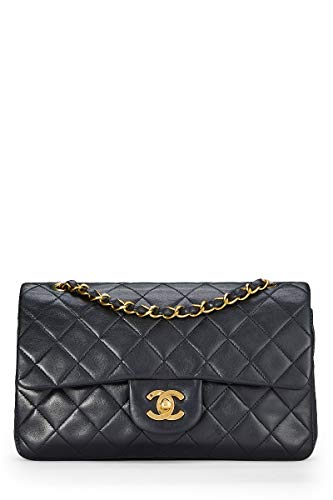 (CHANEL Black Quilted Lambskin Classic Double Flap Small (Pre-Owned))