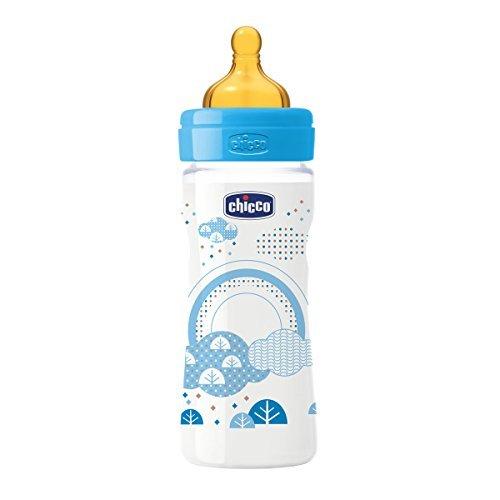 250 ml Chicco Wellbeing color azul Biber/ón con tetina de l/átex y flujo medio para beb/é de 2m+