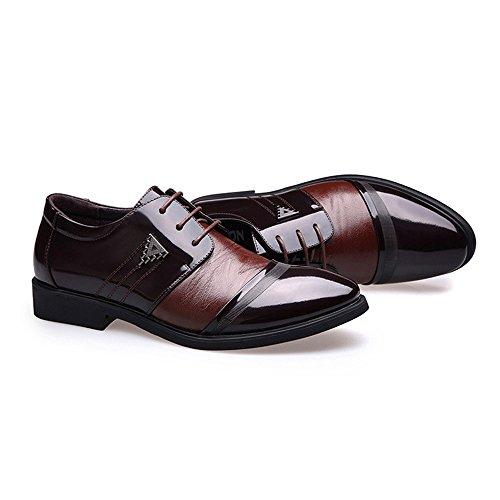 2018 Chaussures d'affaires Formelles pour Hommes Lisses en Cuir PU épissure Supérieure Lacets Oxford Doublés Respirant Richelieus Homme (Color : Noir, Taille : 41 EU) Marron