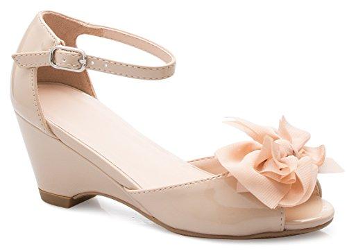 OLIVIA K Girl's Peep Toe Ribbon Bow Ankle Strap Kitten Heel Wedge Sandals by OLIVIA K