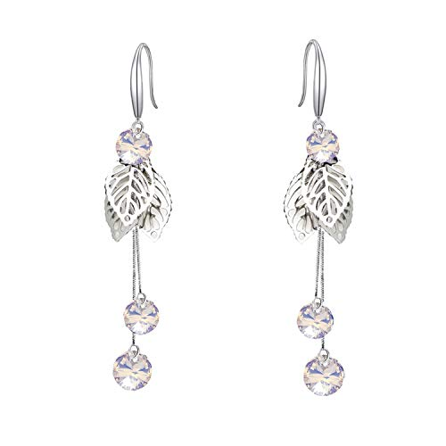 Mondora Women's Fashion Leaf Long Prom Dangle Earrings Clear AB Made with Swarovski Crystals