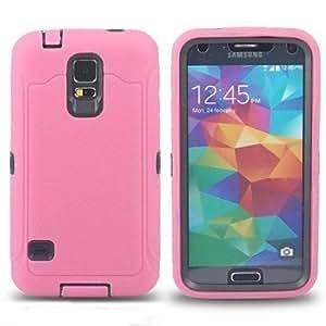 Dual Color Hybrid Layer Scrub Hard PC Soft Silicone Case Back Cover Skin for Samsung galaxy s5 i9600,Orange